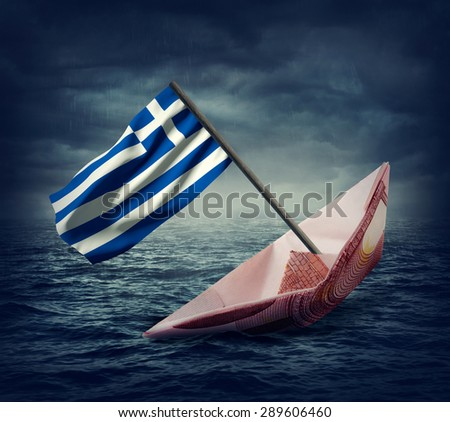 Sinking euro ship with a flag of Greece. Crisis concept. - stock photo