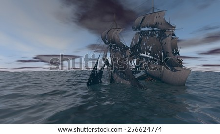 sinking ship in the ocean with torn black sales - stock photo