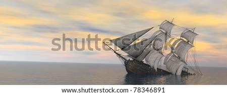 sinking ship in the vas sea - stock photo