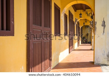 Sino-Portuguese House in Penang, Malaysia. Space for Background and Copy