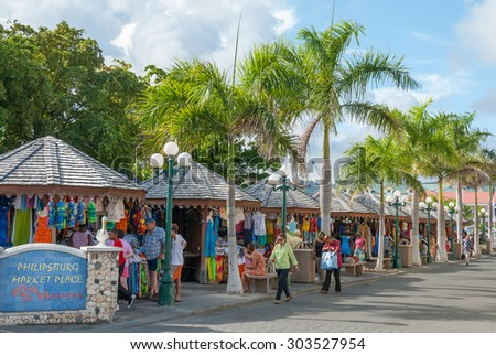 Sint Maarten, Philipsburg-June 3: Market Place on June 3, 2008. The island is a major center for tourism, duty free shopping and sailing regattas in the Caribbean. - stock photo