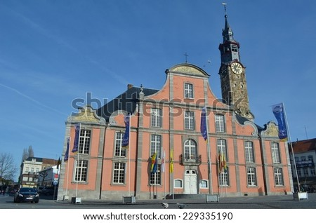 SINT TRUIDEN, BELGIUM, FEBRUARY 24, 2014: View over the main square and town hall in belgian city Sint Truiden.