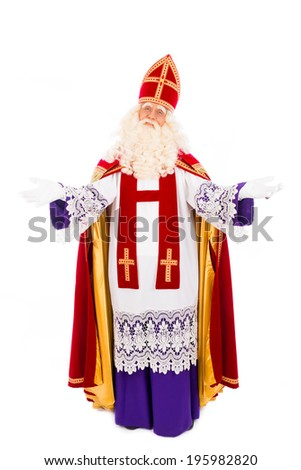 Sinterklaas portrait arms wide. isolated on white background. Dutch character of Santa Claus - stock photo