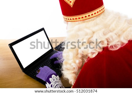 Sinterklaas with notebook. isolated on white background. Dutch character of Santa Claus