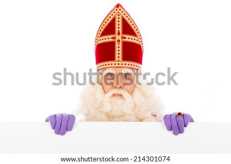Sinterklaas with placard. isolated on white background. Dutch character of Santa Claus - stock photo