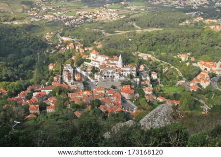 Sintra (Lisbon, Portugal). Panorama of the city. - stock photo