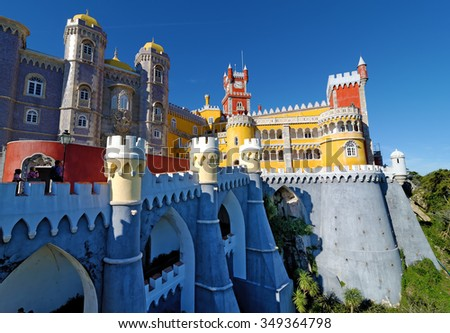 SINTRA - NOVEMBER 09, 2015: Pena National Palace in Sintra, Portugal (Palacio Nacional da Pena) is a Romanticist palace in Sao Pedro de Penaferrim, in the municipality of Sintra, Portugal