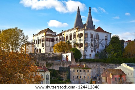 Sintra Palacio Nacional de Sintra. Portugal, Sintra. - stock photo