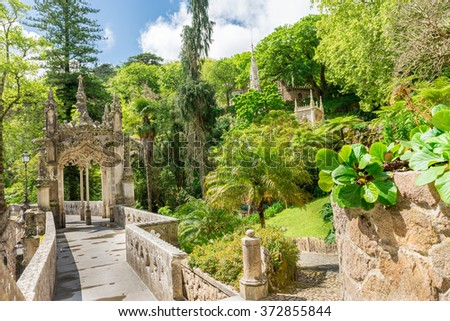 SINTRA, PORTUGAL, APRIL 23, 2014: The Regaleira Palace (known as Quinta da Regaleira) located in Sintra, Portugal