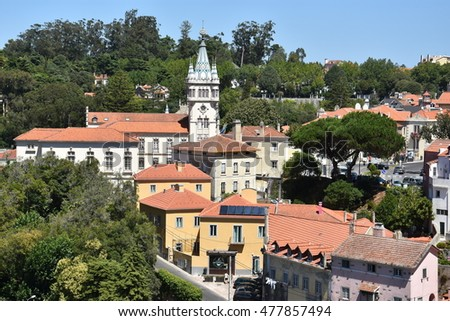 SINTRA, PORTUGAL - AUG 20: Downtown Sintra in Portugal, as seen on Aug 20, 2016. It is known for its many 19th-century Romantic architectural monuments, and is now a UNESCO World Heritage Site.