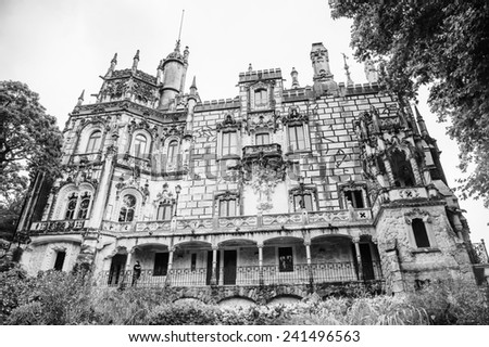 SINTRA, PORTUGAL - JUN 22, 2014: Palace of the Quinta da Regaleira estate, Sintra, Portugal. Quinta da Regaleira is a UNESCO World heritage site