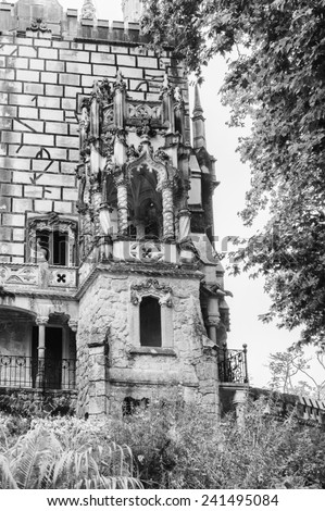SINTRA, PORTUGAL - JUN 22, 2014: Palace the Quinta da Regaleira estate, Sintra, Portugal. Quinta da Regaleira is a UNESCO World heritage site