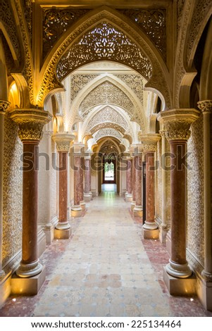 SINTRA - PORTUGAL - MAY 28 - Fairytale corridor of Monserrate Palace on May 28 2014 in Sintra. Placed near Lisbon, Sintra is a monumental village, one of the seven wonders of Portugal - stock photo