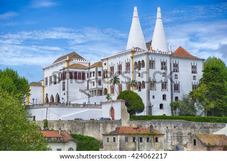 SINTRA, PORTUGAL - May 1, 2015: The National Palace in Sintra is a national landmark. With the two tall white kitchen chimneys, it was the royal family's country palace away from Lisbon.