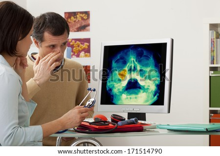 Sinusitis In A Man - stock photo