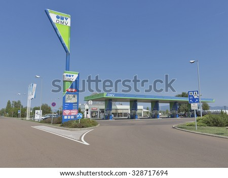 SIOFOK, HUNGARY - SEPTEMBER 03, 2015: OMV petrol filling station. OMV was founded in 1956 and is the Austria's largest oil industry company for people on the move throughout the Danube region.