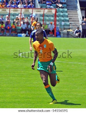 SION, SWITZERLAND- JUNE 4: Salomon Kalou of the Ivory Coast in a friendly match against Japan for the 2010 world cup:  June 4, 2010 in Sion Switzerland