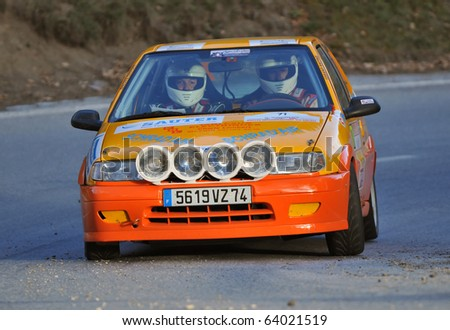 SION, SWITZERLAND - OCTOBER 28: Blanc (driver) and Fayez on Day 1, Stage 1 of the International Rally of the Valais: October 28 in their Citroen Saxo, 2010 in Sion Switzerland