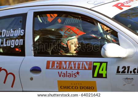 SION, SWITZERLAND - OCTOBER 28: Dubuis (driver) and Lugon on Day 1, Stage 1 of the International Rally of the Valais: October 28, 2010 in Sion Switzerland