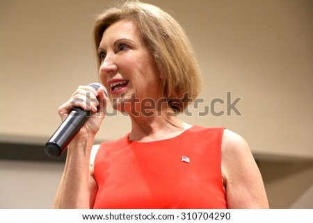 SIOUX CENTER, IOWA - AUGUST 27, 2015: Presidential Candidate, Carly Fiorina, speaks at a public gathering in Sioux Center, IA.  Fiorina is the former CEO of Hewlett Packard. - stock photo