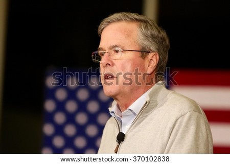 SIOUX CENTER, IOWA - JANUARY 29, 2016: Presidential Candidate, Jeb Bush, speaks at a campaign stop in Sioux Center, IA.  Bush is the former governor of Florida.