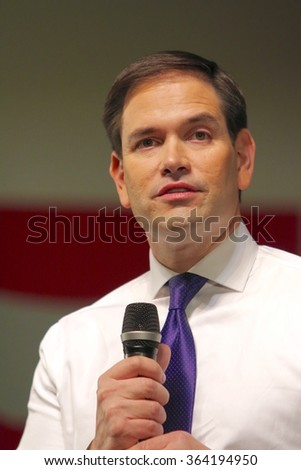 SIOUX CENTER, IOWA - JANUARY 16, 2016: Presidential Candidate, Marco Rubio, addresses the crowd at a campaign stop.  - stock photo