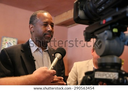 SIOUX CENTER, IOWA - JUNE 25, 2015:  Presidential candidate, Dr. Ben Carson, addresses the media at a campaign stop in Iowa. - stock photo