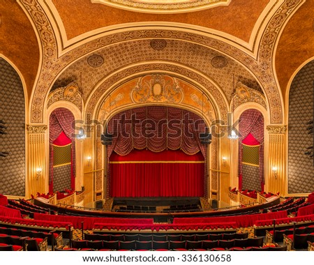 SIOUX CITY, IOWA - OCTOBER 15: Stage and curtain inside the Orpheum Theatre (1927) on Pierce Street on October 26, 2015 in Sioux City, Iowa - stock photo