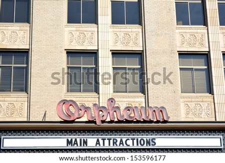 SIOUX CITY IOWA-SEPTEMBER 10th, 2013: View of the Orpheum Theater marquee in downtown Sioux City, Iowa.