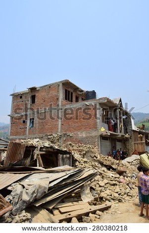 Sipaghat bazar ,Kavreplanchok district ,Nepal - May 8 2015 : Collapsed building after earthquake disaster
