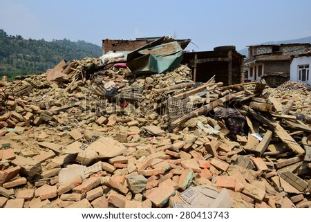Sipaghat bazar ,Kavreplanchok district, Nepal - May 8 2015 : Collapsed building after earthquake disaster