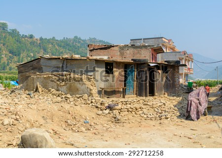 SIPAGHUT, NEPAL - JUNE 9: house after earthquake on June 9, 2015 in Sipaghut Bazaar, Nepal.