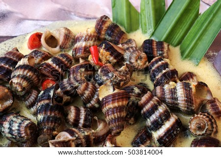 Siput Masak Lemak - Traditional Malay Cuisine. snails cook with turmeric herbs, coconut milk, spices and chilli