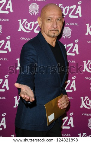 """Sir Ben Kingsley arrives for the Cirque du Soleil """"Kooza"""" VIP performance at the Royal Albert Hall, London. 08/01/2013.  Picture by: Steve Vas - stock photo"""