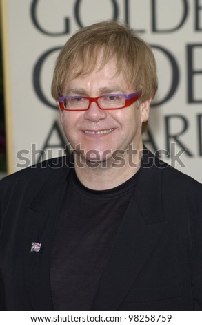 SIR ELTON JOHN at the Golden Globe Awards at the Beverly Hills Hilton Hotel. 19JAN2003.  Paul Smith / Featureflash
