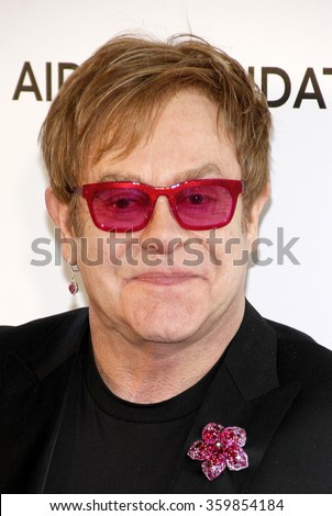 Sir Elton John at the 21st Annual Elton John AIDS Foundation Academy Awards Viewing Party held at the West Hollywood Park in Los Angeles, USA on February 24, 2013. - stock photo