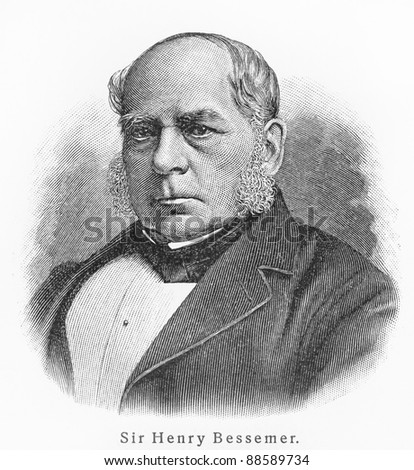 Sir Henry Bessemer - Picture from Meyers Lexicon books written in German language. Collection of 21 volumes published  between 1905 and 1909.