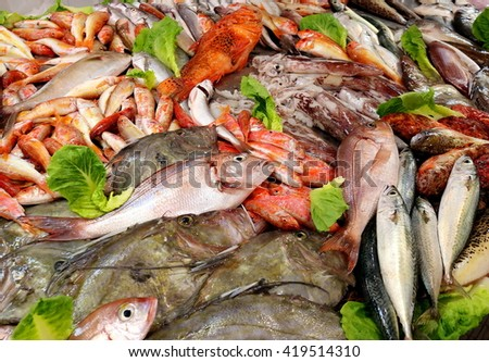 Siracusa, Italy - July 2013: Assorted Mediterranean fish