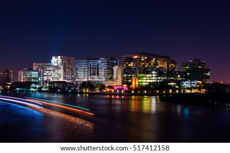 Siriraj Hospital is adjacent to the river. During the night .