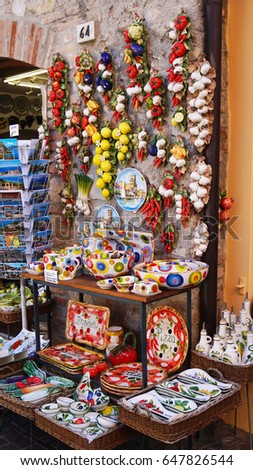 SIRMIONE, ITALY - MAY 15, 2017: Souvenir shop handmade objects and spices vintage in Sirmione, Lake Garda, Italy