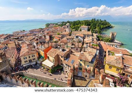 Sirmione, province of Brescia, Lombardy, northern Italy, 15th August 2016: view to the old roofs of Sirmione town on lake Lago di Garda