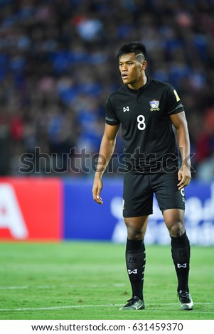 Siroch Chatthong L Of Thailand In Action During  Fifa World Cup Qualifier Group