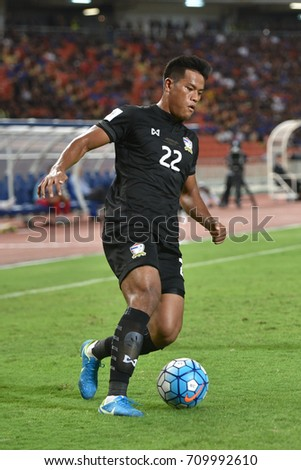 Siroch Chatthong Of Thailand In Action During The  Fifa World Cup Asian Qualifiers Match Thailand