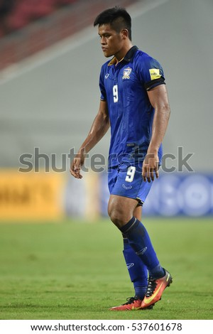Siroch Chatthong of Thailand  in action during the 2018 World Cup Qualifiers match between Thailand and Australia at Rajamangala Stadium on September 15, 2016 in Bangkok, Thailand