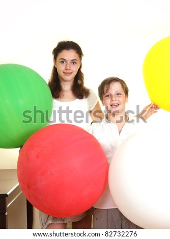 Sirter and brother - stock photo