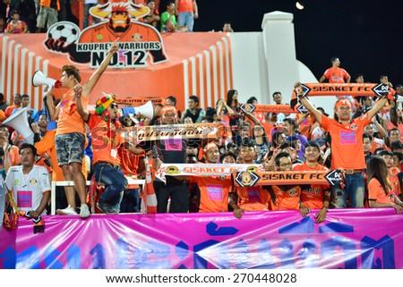SISAKET THAILAND-APRIL 4: Sisaket FC Fans cheer during Thai Premier League between Sisaket FC and Thai Port FC at Sri Nakhon Lamduan Stadium on April 4,2015,Thailand - stock photo