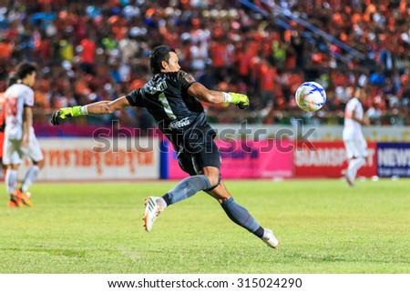 SISAKET THAILAND-AUGUST 19: Kawin Thamsatchanan of Muangthong Utd in action during Thai Premier League between Sisaket FC and Muangthong  Utd at Sri Nakhon Lamduan Stadium on August 19,2015,Thailand - stock photo