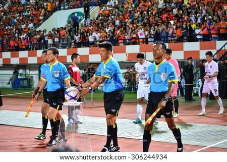 SISAKET THAILAND-AUGUST 9: Referee on soccer match befor start Thai Premier League between Sisaket FC and Buriram united at Sri Nakhon Lamduan Stadium on August 9,2015,Thailand - stock photo