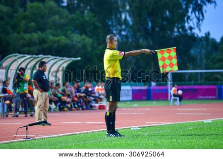SISAKET THAILAND-AUGUST 12: Referee on soccer match during Chang FA Cup between Sisaket FC and Chonburi FC at Sri Nakhon Lamduan Stadium on August 12,2015,Thailand - stock photo