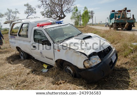 SISAKET,THAILAND - JANUARY 3 : Rescue car  overturned  on January 3, 2015 at the Highway 24 on the way from Sisaket to Ubon ratchathani  ,Thailand